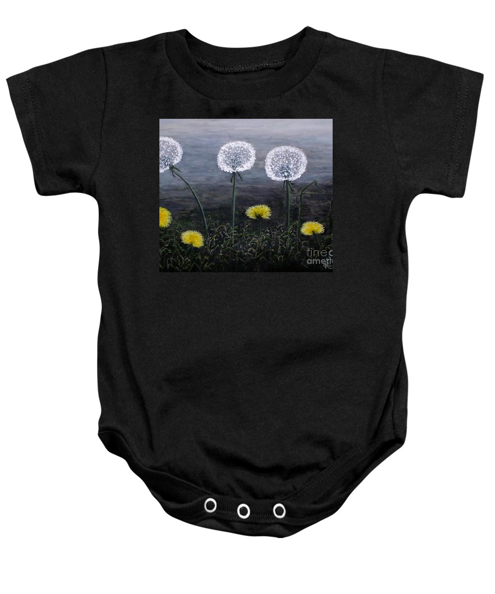 Dandelion Baby Onesie featuring the painting Dandelion Family by Judy Kirouac