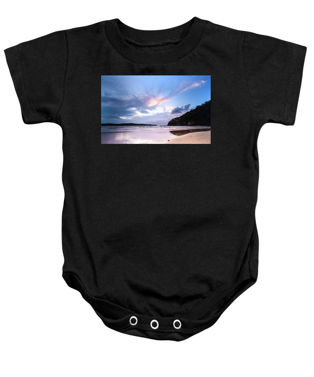 Umina Beach Baby Onesie featuring the photograph Dawn Seascape With Cloudy Sky by Merrillie Redden