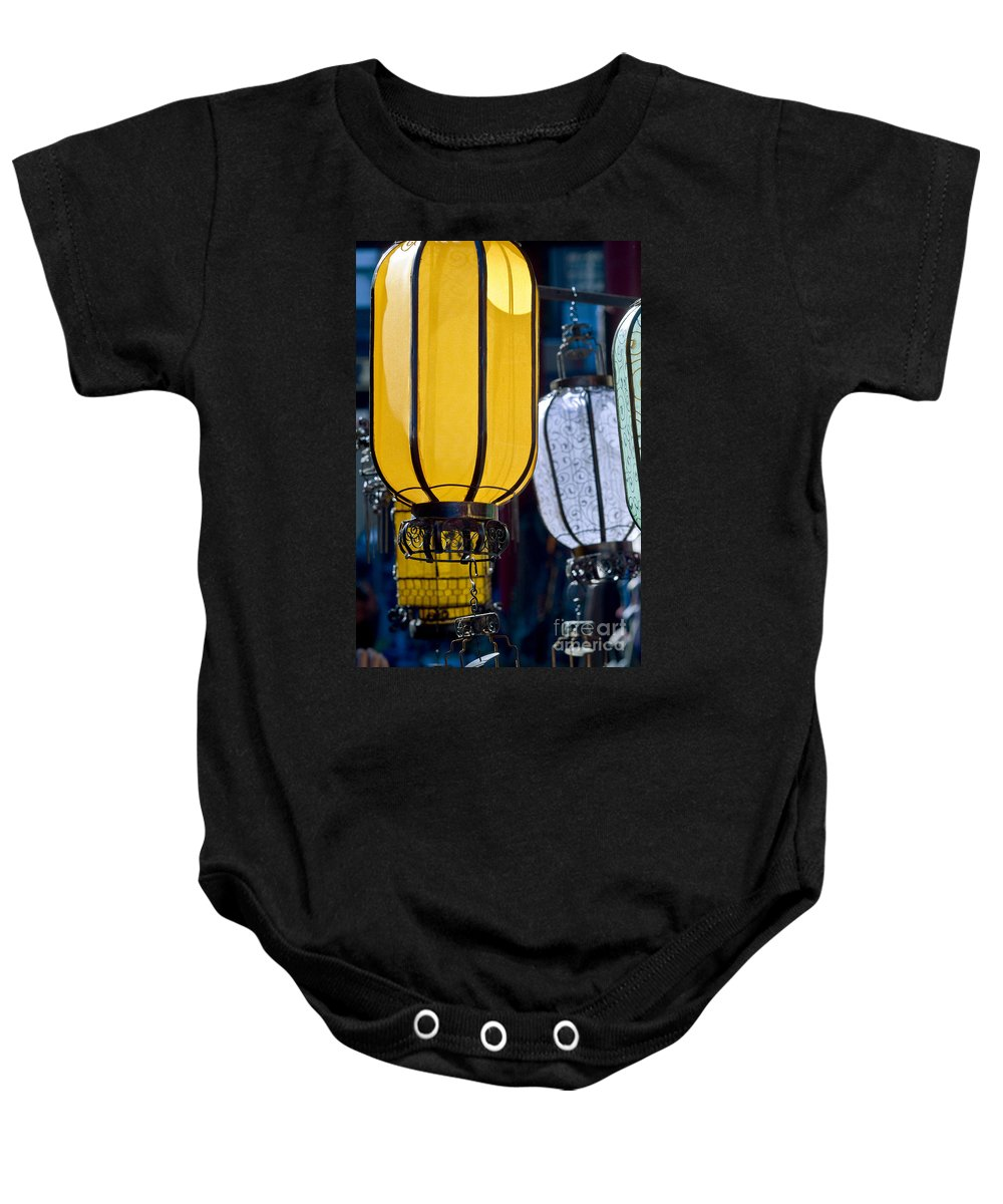 Ancient Baby Onesie featuring the photograph Decorative Lanterns by Ray Laskowitz - Printscapes