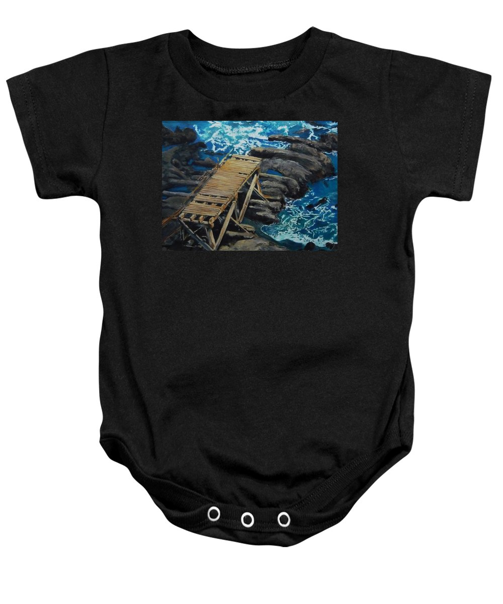 Dock Baby Onesie featuring the painting Dock by Travis Day