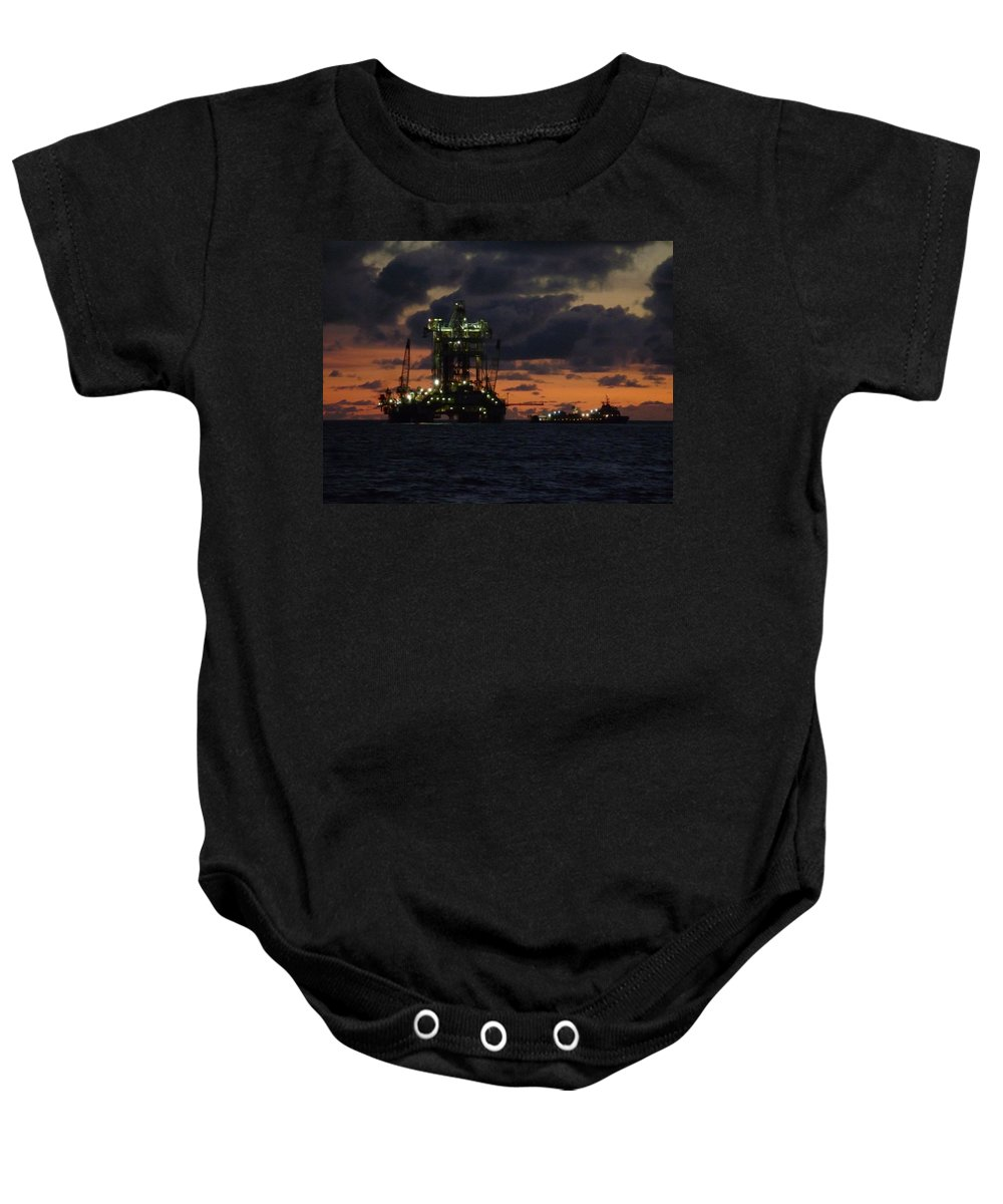 Off Shore Baby Onesie featuring the photograph Drill Rig At Dusk by Charles and Melisa Morrison