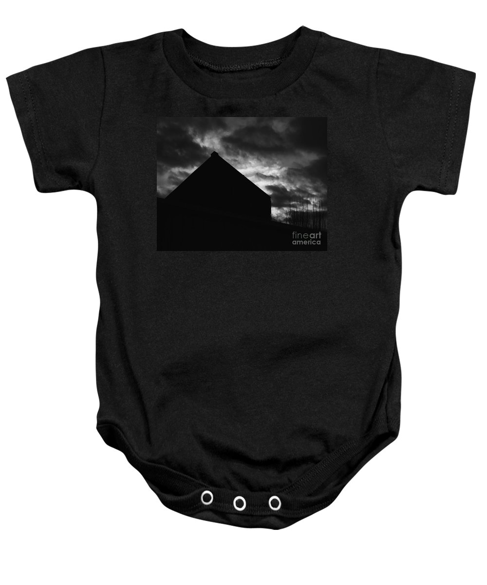 Black And White Baby Onesie featuring the photograph Early Morning by Peter Piatt