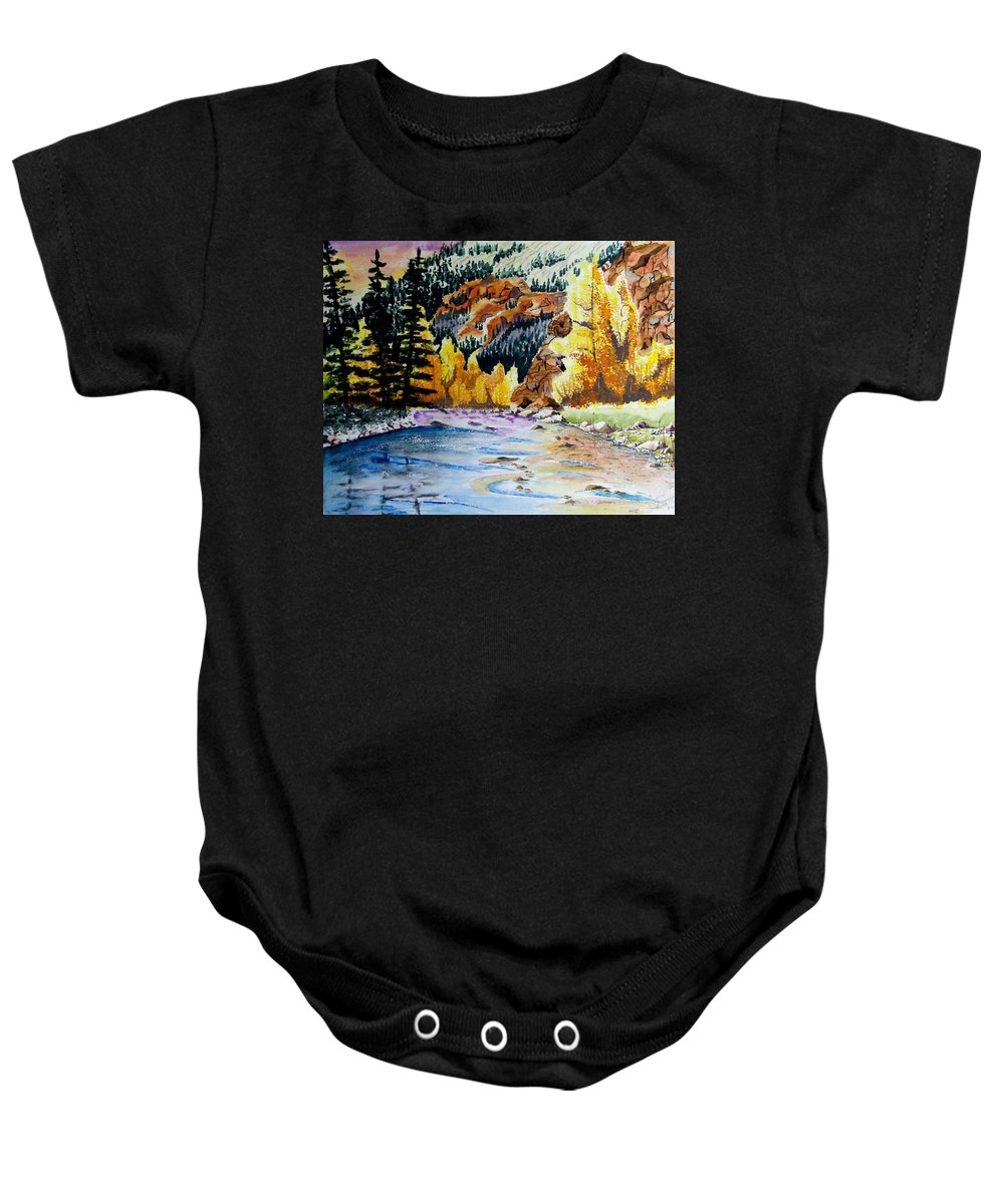 Creek Baby Onesie featuring the painting East Clear Creek by Jimmy Smith
