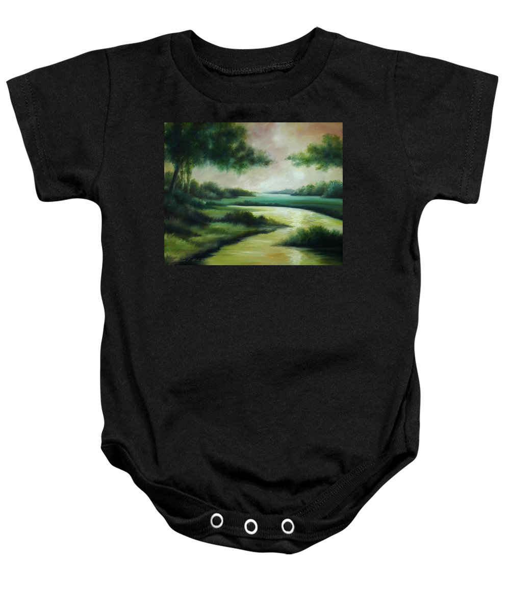 Bright Clouds; Sunsets; Reflections; Ocean; Water; Purple; Orange; Storms; Lightning; Contemporary; Abstract; Realism; James Christopher Hill; James Hill Studios; James C. Hilll; Forest; Flowers; Trees; Green; River; Water Baby Onesie featuring the painting Emerald Forest by James Christopher Hill