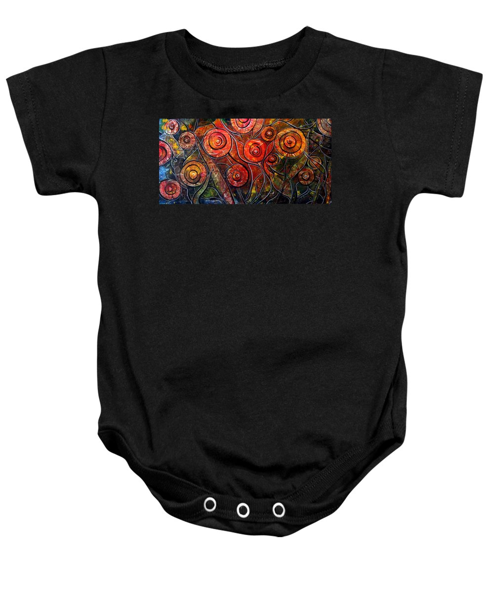 Exotic Baby Onesie featuring the painting Exotic Foliage by Luiza Vizoli