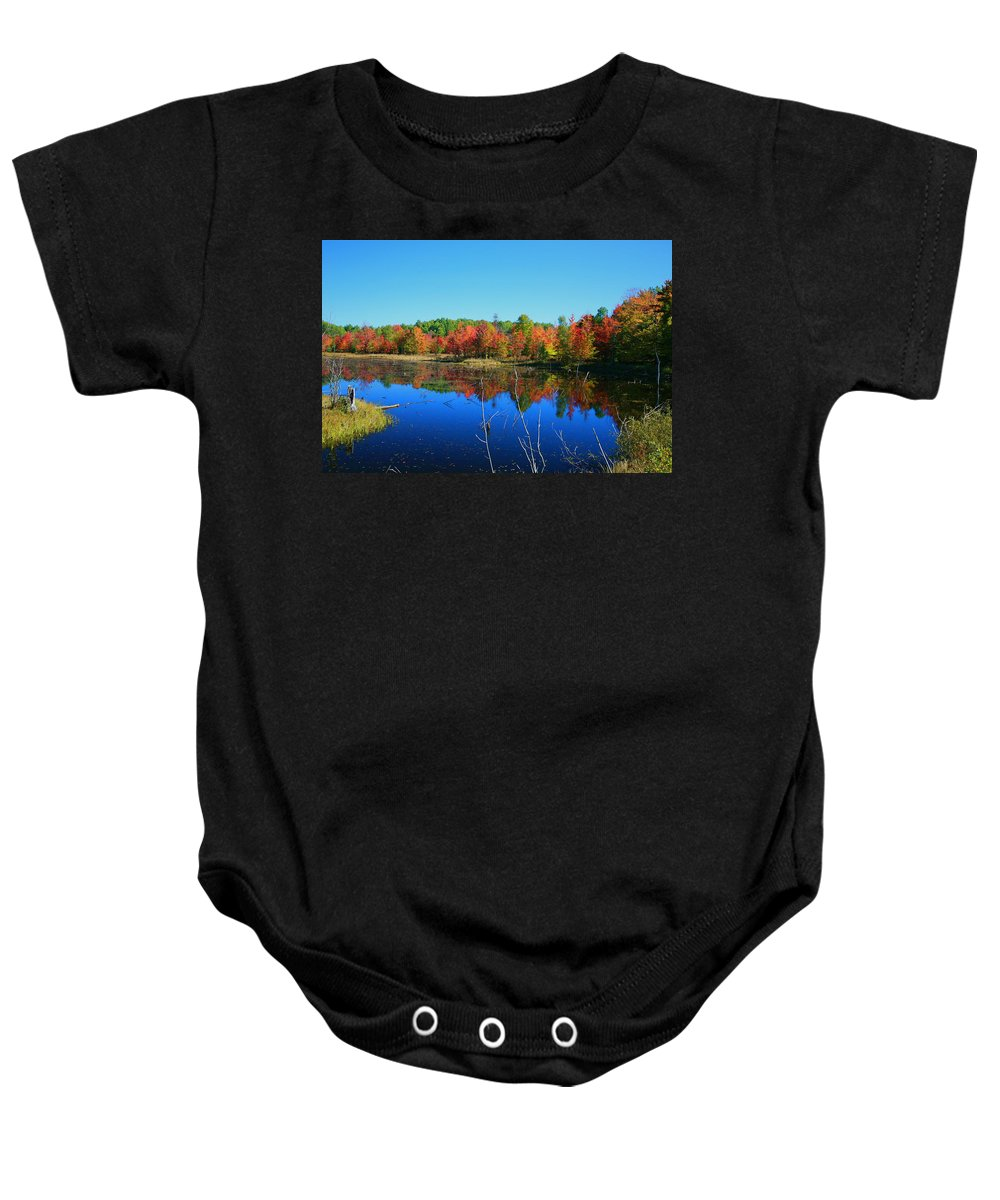 Fall Baby Onesie featuring the photograph Fall Fire Works by Robert Pearson