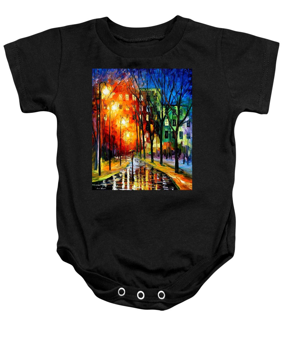 Afremov Baby Onesie featuring the painting Farewell To Autumn by Leonid Afremov