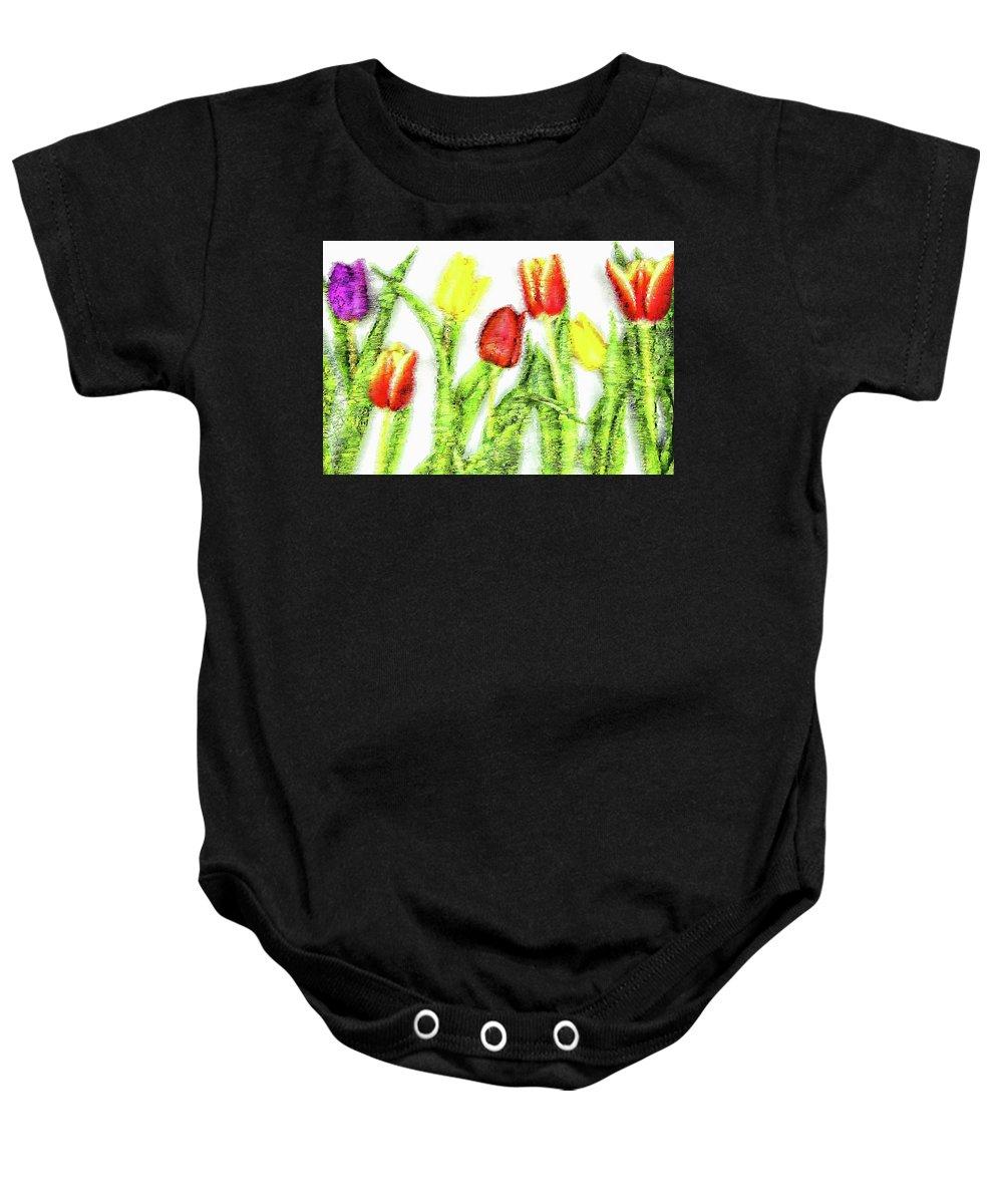 Assorted Baby Onesie featuring the digital art Flower Frame Border by Robert Chlopas