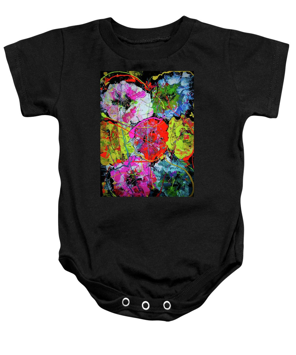 Flowers Baby Onesie featuring the painting Flowers by Maria Rom