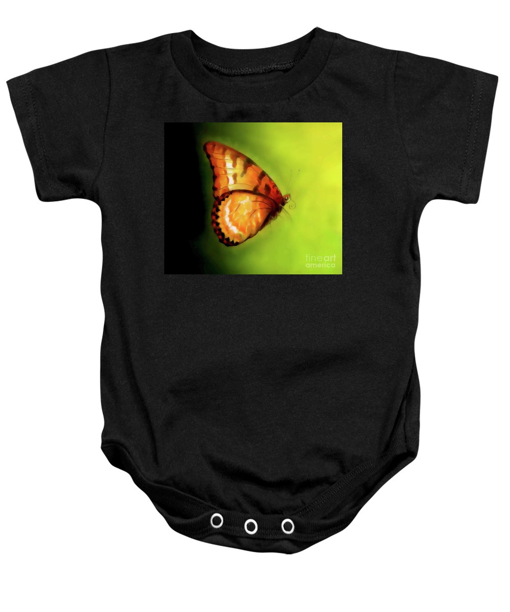 Abstract Baby Onesie featuring the painting Flying Butterfly On Decorative Background, Graphic Design. by Jozef Klopacka