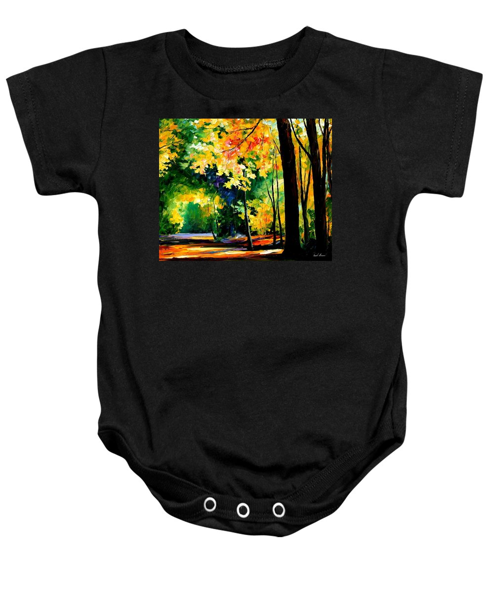 Landscape Baby Onesie featuring the painting Forest by Leonid Afremov