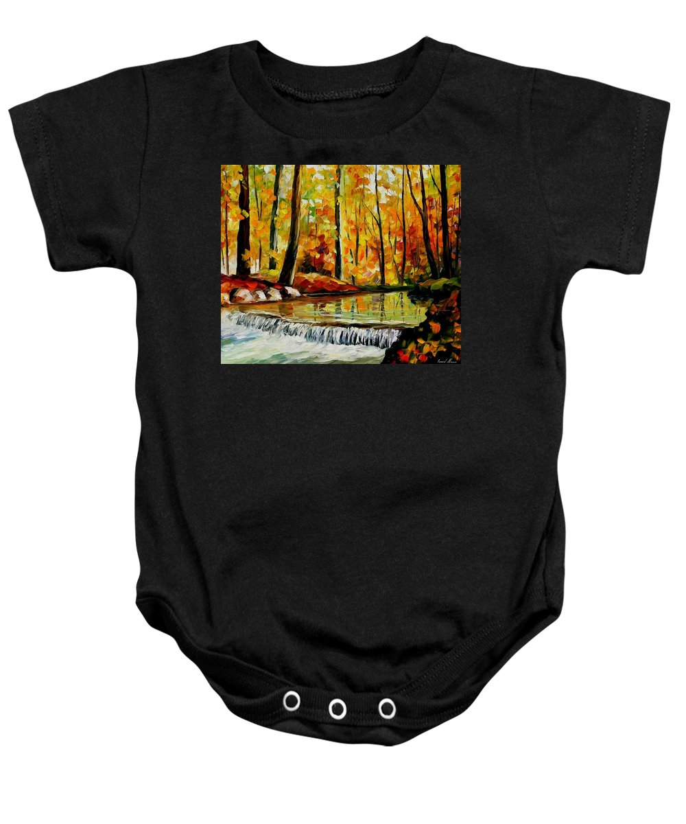 Afremov Baby Onesie featuring the painting Forest Stream by Leonid Afremov