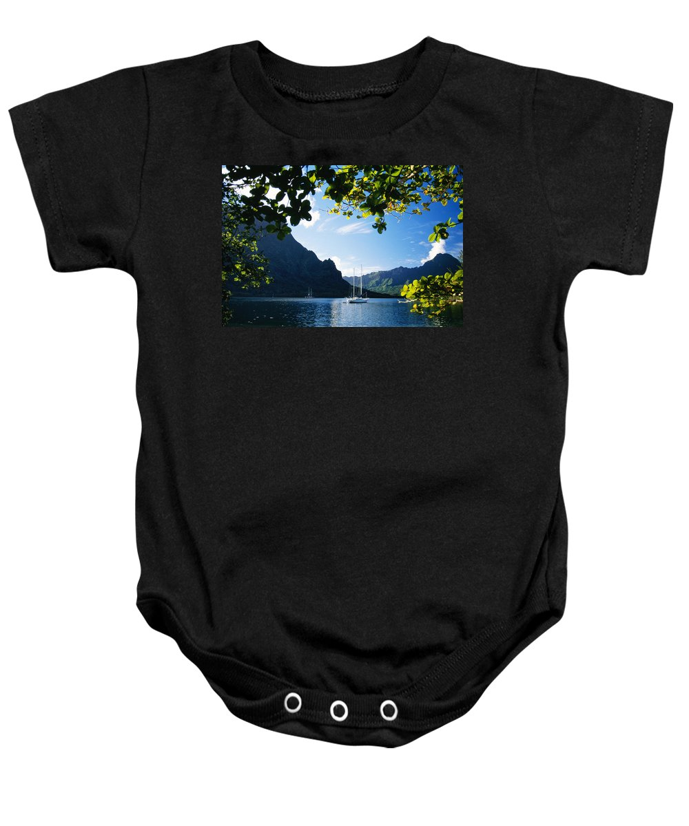 Across Baby Onesie featuring the photograph French Polynesia, Moorea by Dana Edmunds - Printscapes
