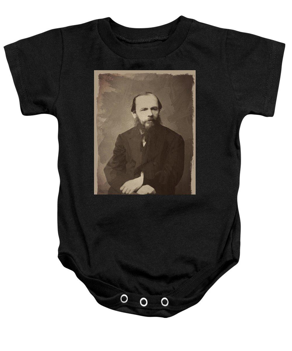 Fyodor Dostoevsky Baby Onesie featuring the digital art Fyodor Dostoevsky by Afterdarkness