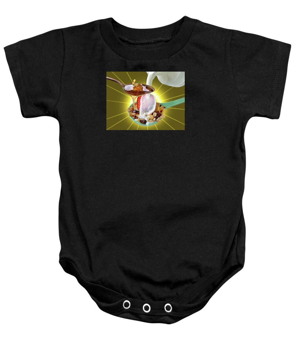 Chair.cup.coffee Baby Onesie featuring the photograph Quiet by Manfred Lutzius