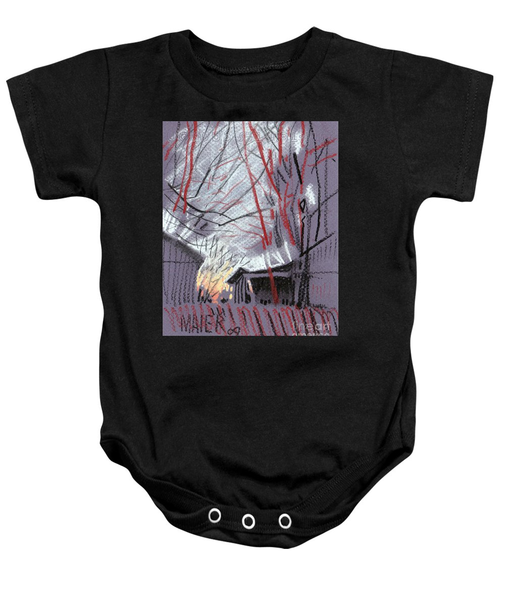 Pastel Baby Onesie featuring the drawing Grey Evening by Donald Maier