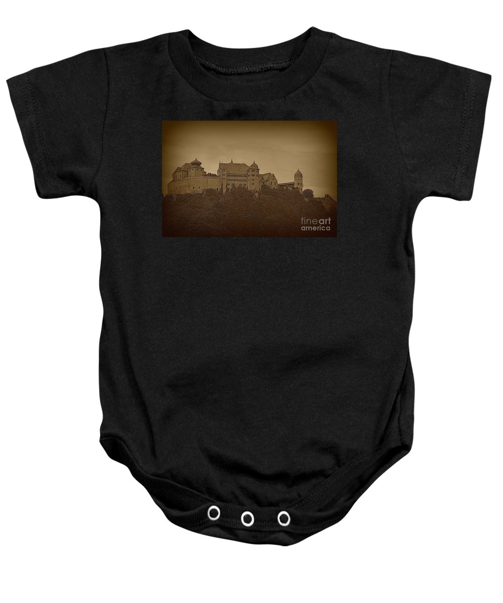 Harburg Castle Baby Onesie featuring the photograph Harburg Castle - Digital by Carol Groenen