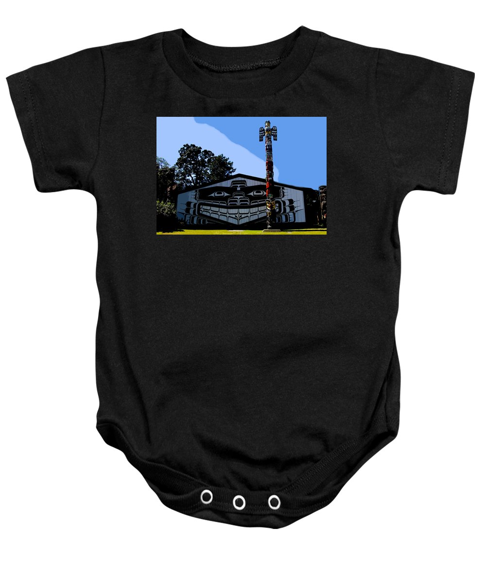Totem Poll Baby Onesie featuring the painting House Of Totem by David Lee Thompson