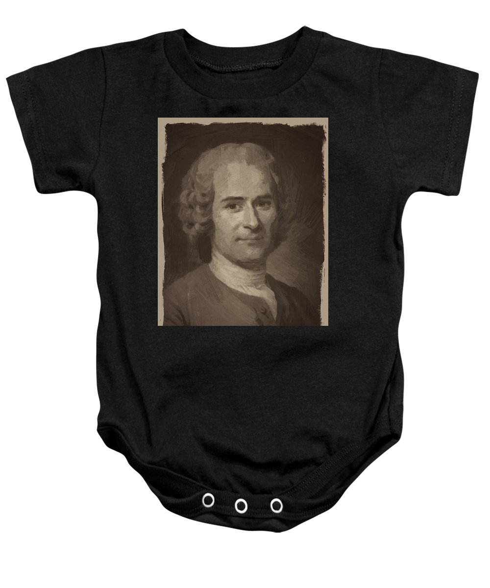 Jean Jacques Rousseau Baby Onesie featuring the digital art Jean Jacques Rousseau by Afterdarkness