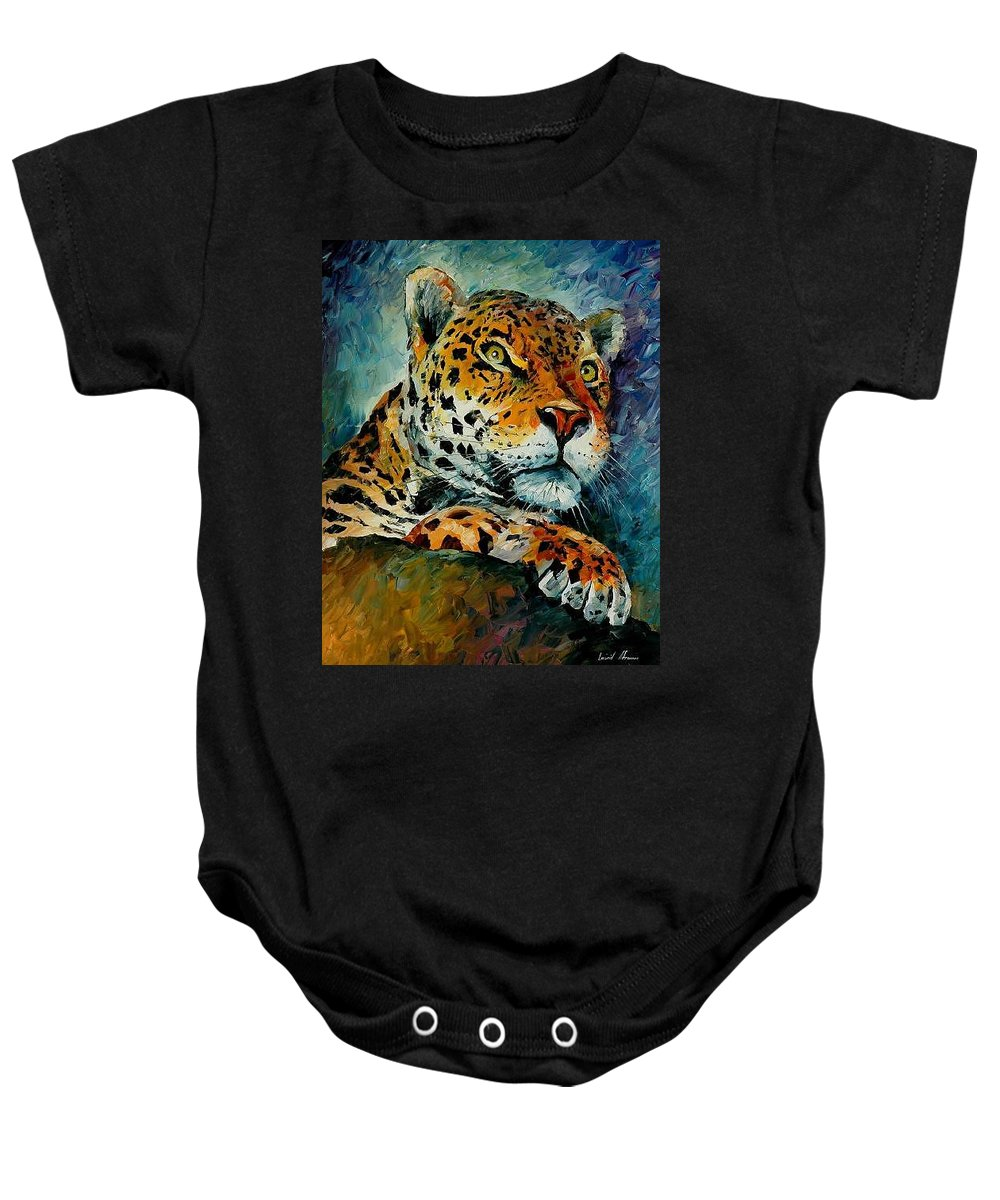 Animal Baby Onesie featuring the painting Leopard by Leonid Afremov