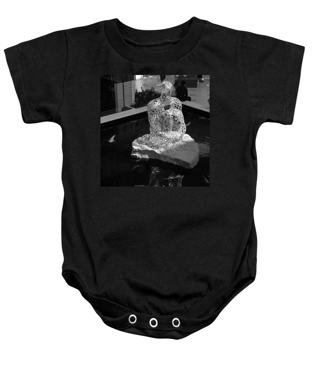 Black And White Baby Onesie featuring the photograph Letterman By Coy by Rob Hans