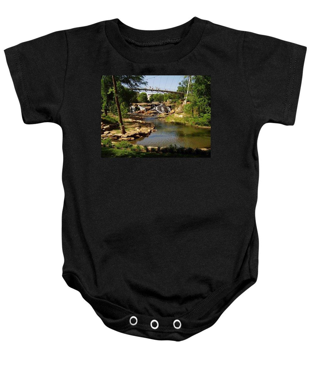 Liberty Bridge Baby Onesie featuring the photograph Liberty Bridge by Flavia Westerwelle