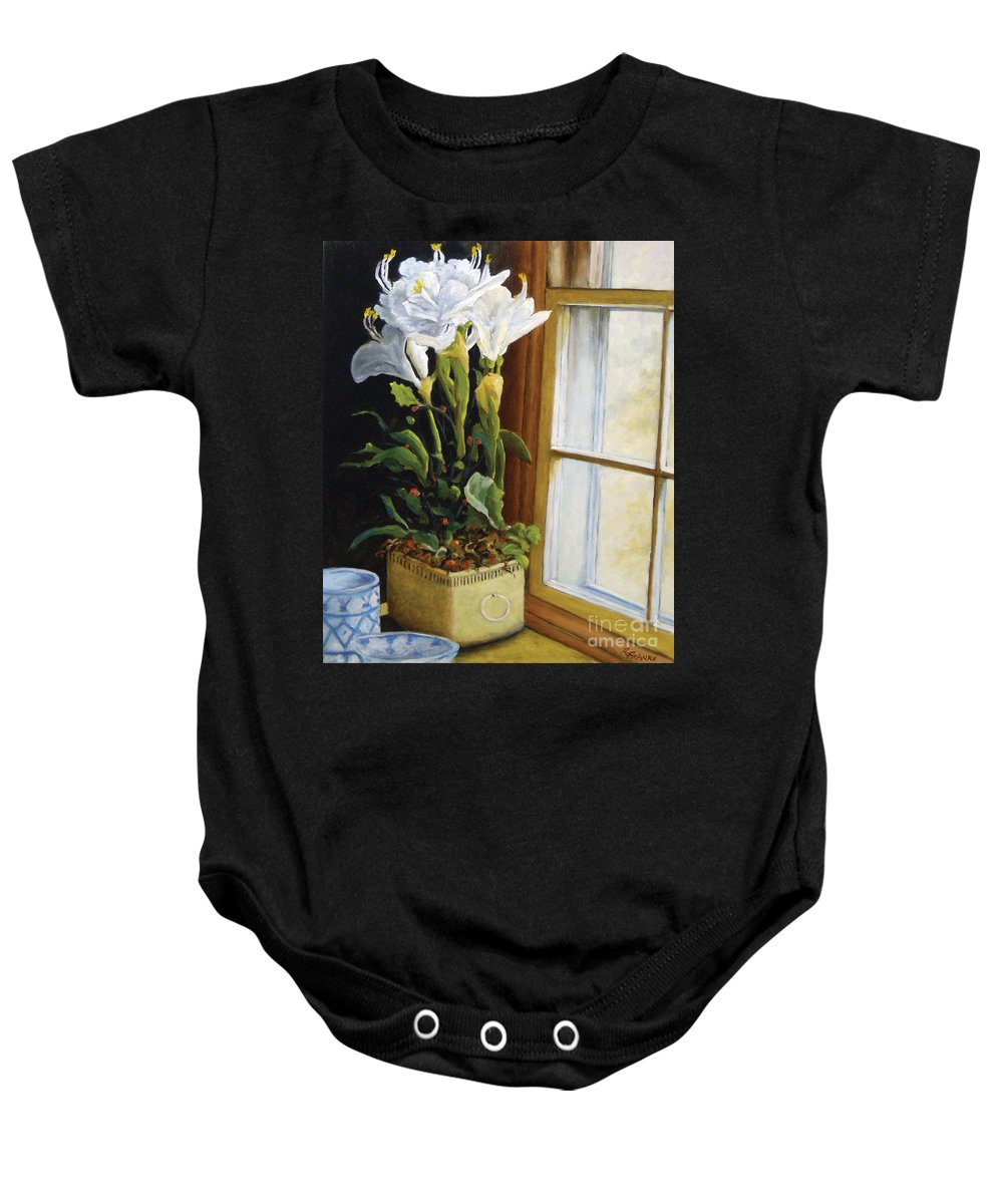 Art Baby Onesie featuring the painting Lillies by Richard T Pranke