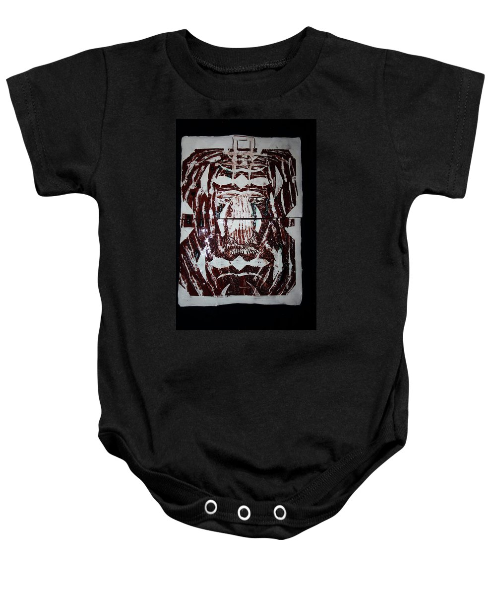 Plaquesmamamama Africa Twojesus Baby Onesie featuring the ceramic art Lion Of Judah by Gloria Ssali