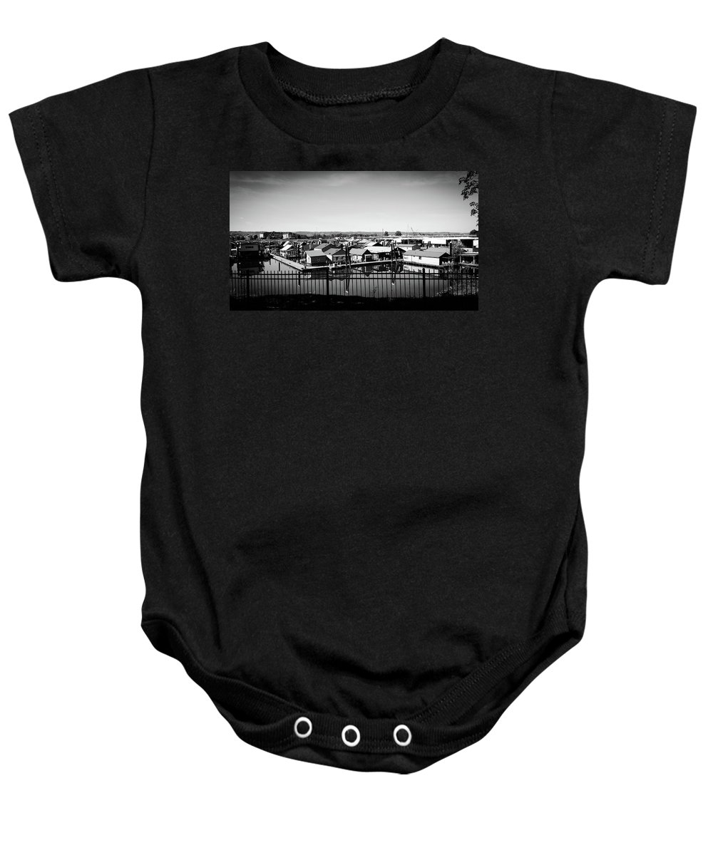 Houseboats Baby Onesie featuring the photograph Lotus Isle Houseboats by Melissa Coffield