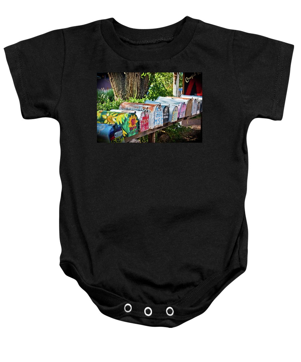 Mailboxes Baby Onesie featuring the photograph Madrid Mailboxes by Jill Smith