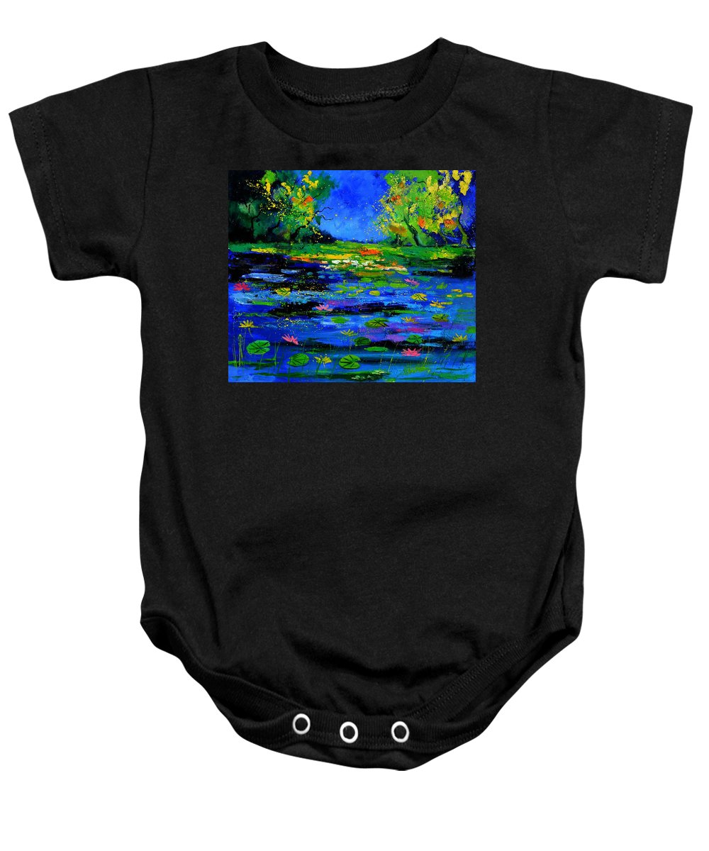 Landscape Baby Onesie featuring the painting Magic pond 765170 by Pol Ledent