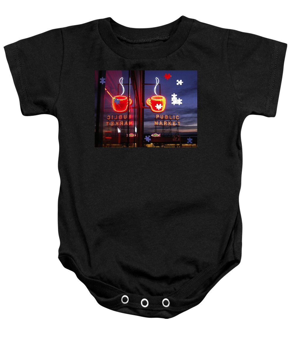 Seattle Baby Onesie featuring the photograph Market Cup by Tim Allen