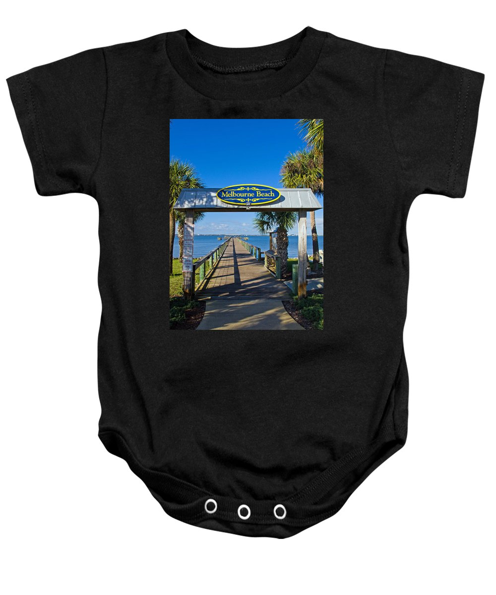 Florida; Melbourne; Beach; Atlantic; Coast; East; Space; Pier; Pineapples; Steamboat; Load; Cargo; I Baby Onesie featuring the photograph Melbourne Beach Florida by Allan Hughes