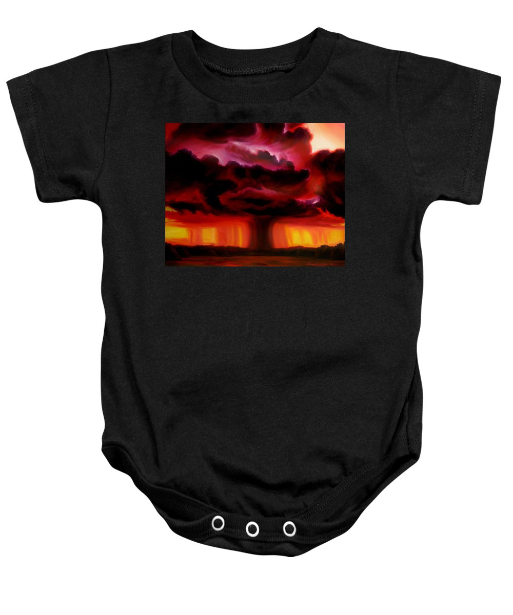 Skyscape Baby Onesie featuring the painting Microburst by James Christopher Hill