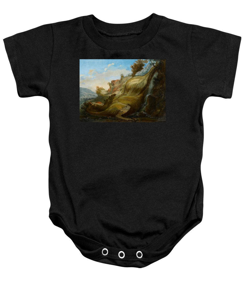 Flemish School Baby Onesie featuring the painting Mimetic Landscape by MotionAge Designs