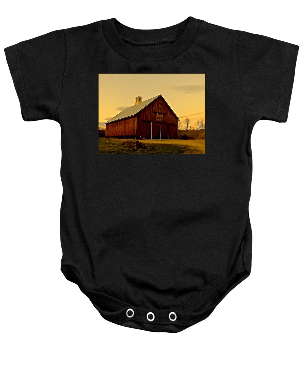 Farm Baby Onesie featuring the photograph New England Barn by Elizabeth Tillar
