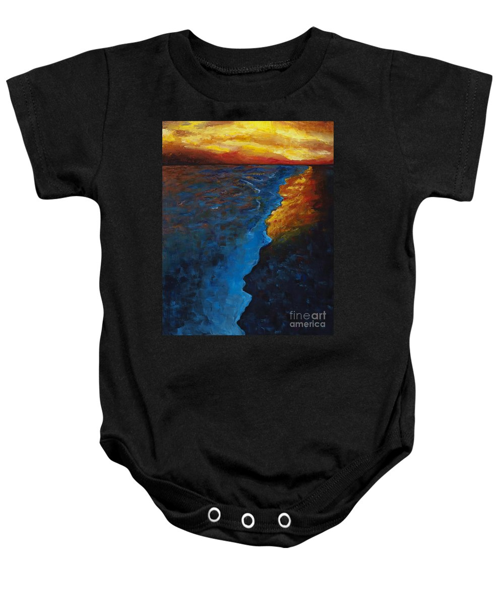 Abstract Ocean Baby Onesie featuring the painting Ocean Sunset by Frances Marino