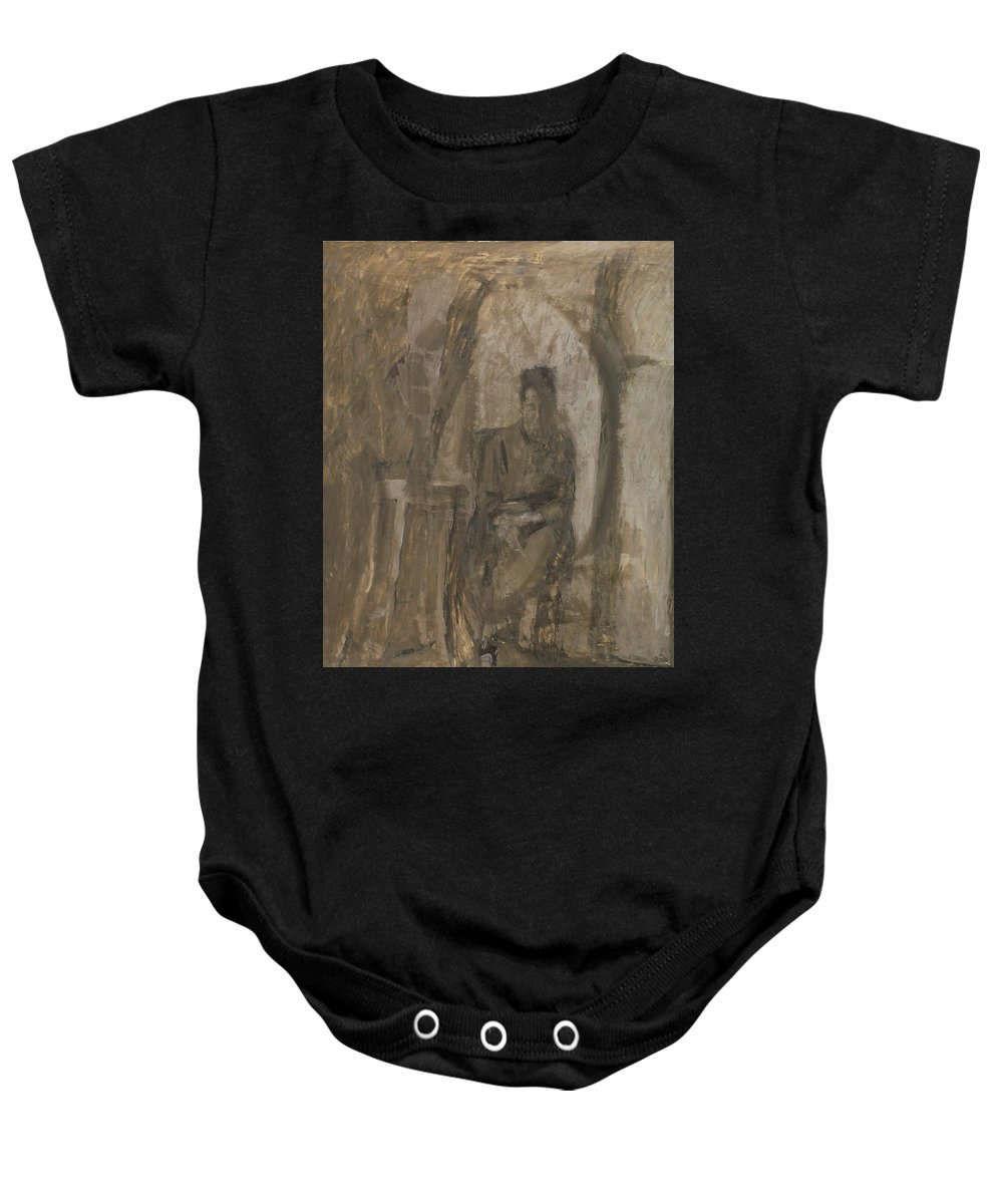Portrait Baby Onesie featuring the painting Old Woman by Robert Nizamov