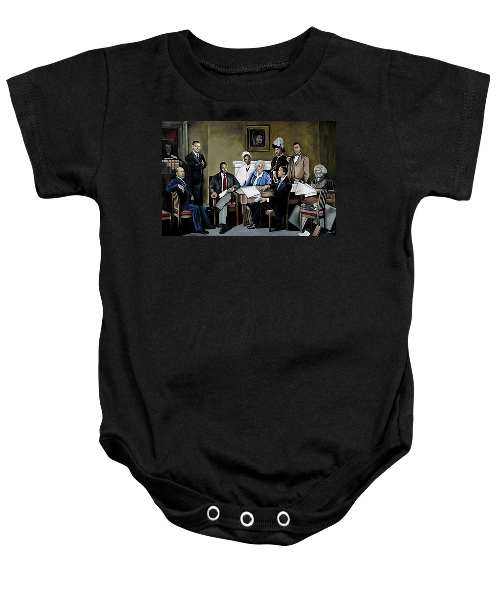 President Barack Obama Baby Onesie featuring the painting One Day by Stacy V McClain