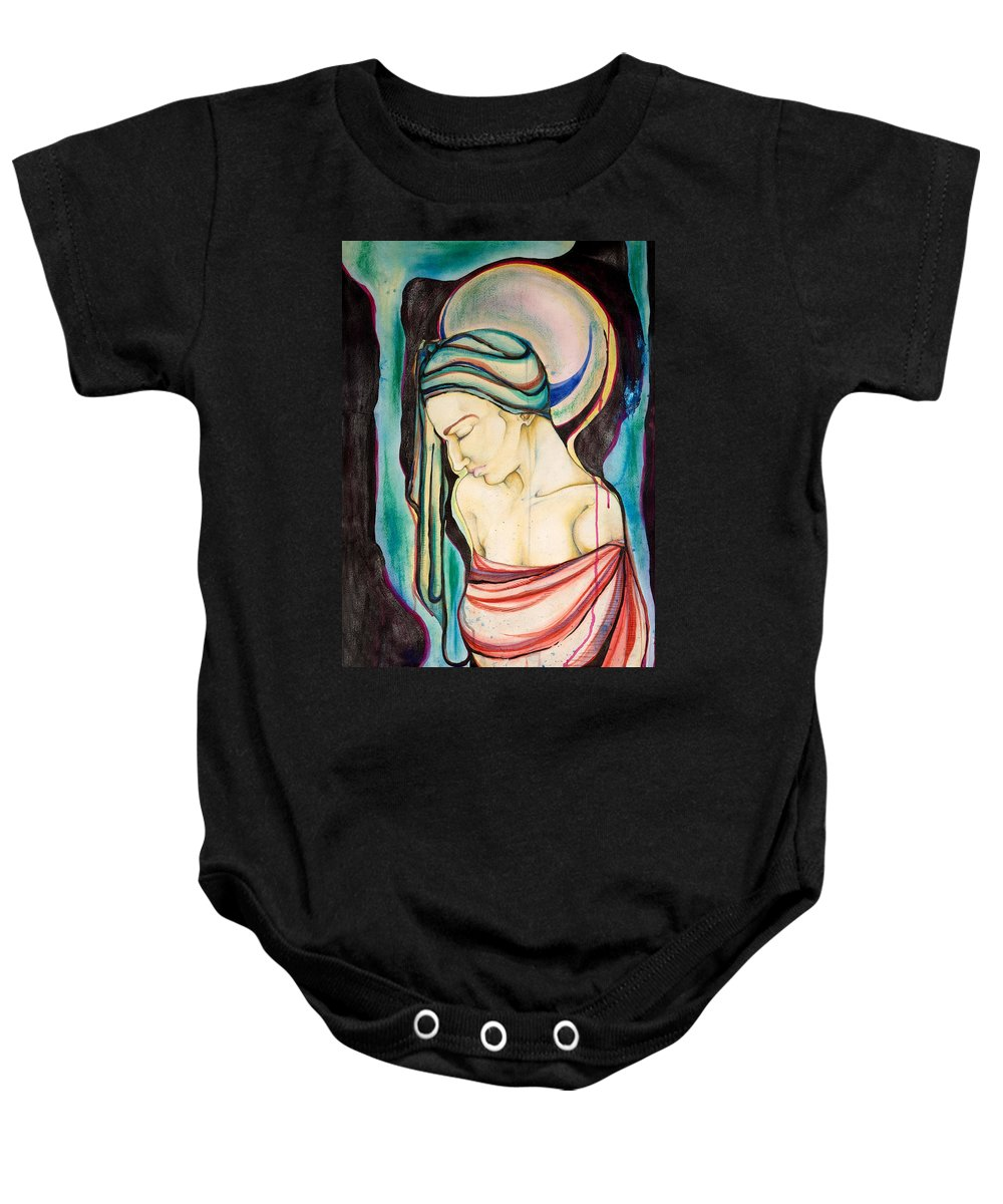 Peace Baby Onesie featuring the painting Peace Beneath The City by Sheridan Furrer