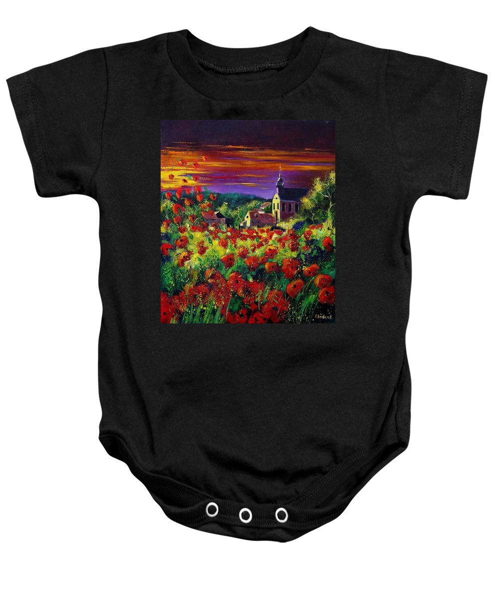 Flowers Baby Onesie featuring the painting Poppies In Foy by Pol Ledent