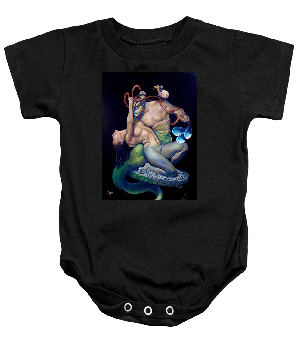 Mermaid Baby Onesie featuring the painting Pygmalion And Galatea by Patrick Anthony Pierson