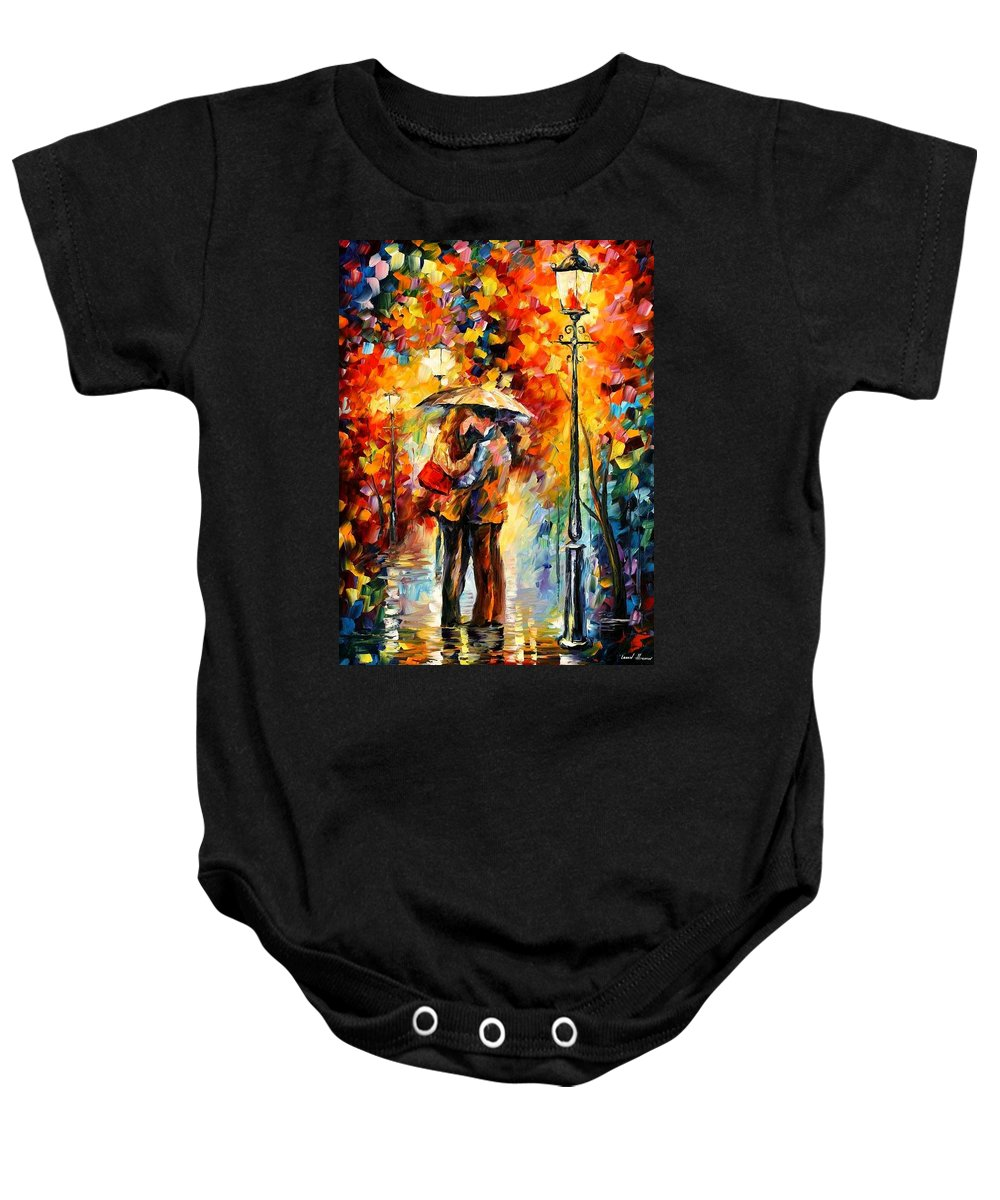 Woman Baby Onesie featuring the painting Rainy Kiss by Leonid Afremov
