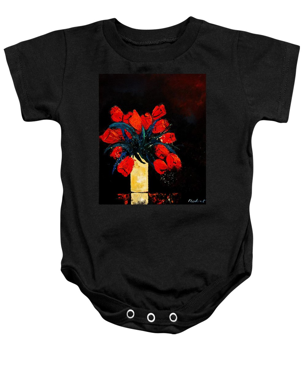 Flowers Baby Onesie featuring the painting Red Tulips by Pol Ledent