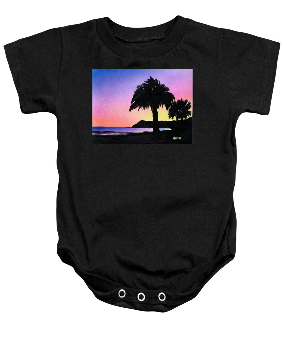 Beach Baby Onesie featuring the painting Refugio Point 1 by Angie Hamlin