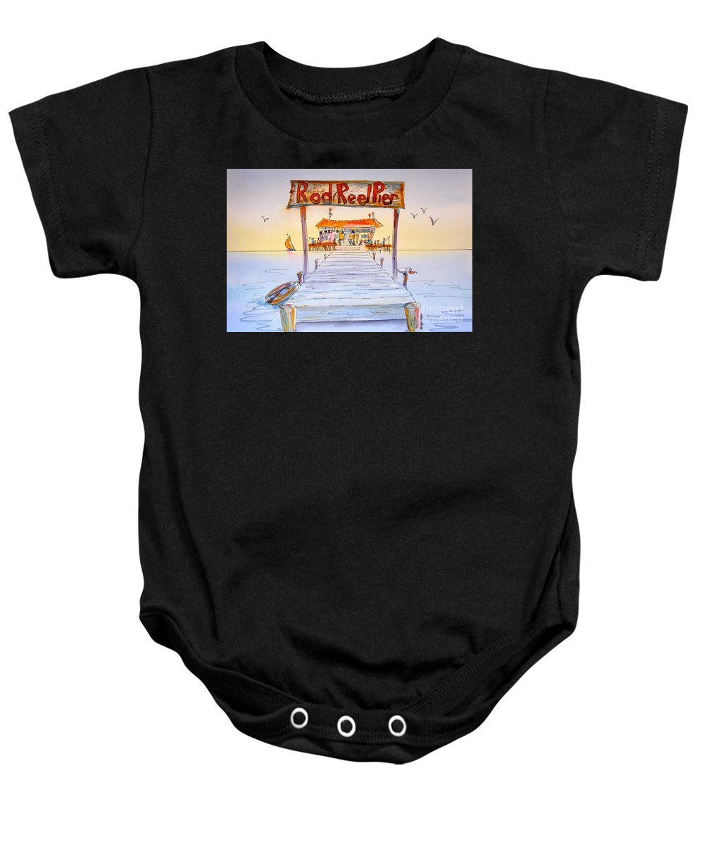 Florida Baby Onesie featuring the painting Rod And Reel Pier by Midge Pippel