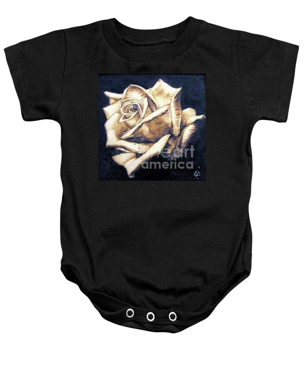 Rosa Baby Onesie featuring the pyrography Rose by Ilaria Andreucci
