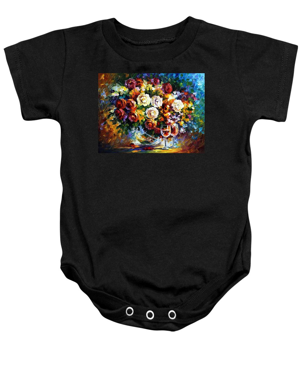 Afremov Baby Onesie featuring the painting Roses And Wine by Leonid Afremov