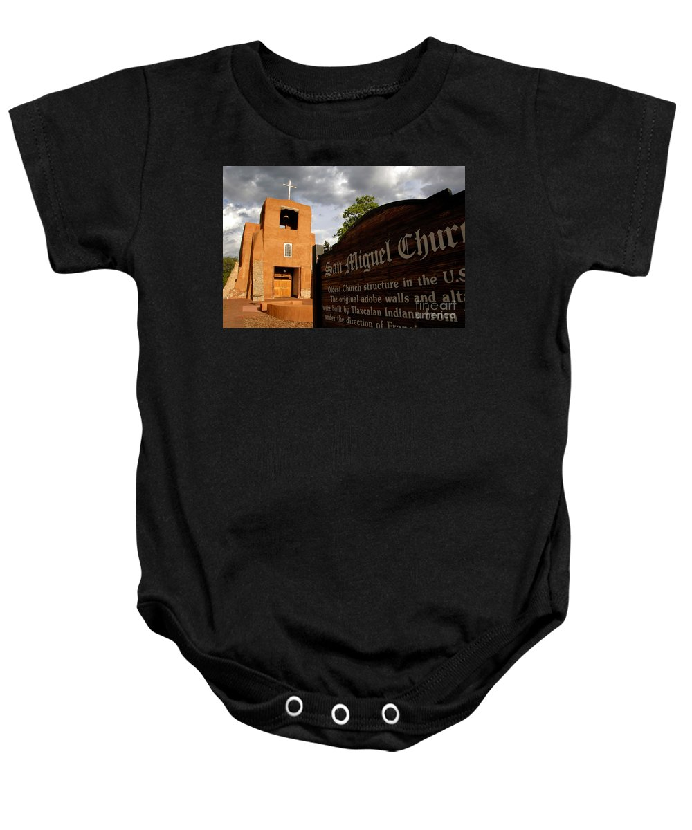 San Miguel Mission Church New Mexico Baby Onesie featuring the photograph San Miguel Mission Church by David Lee Thompson