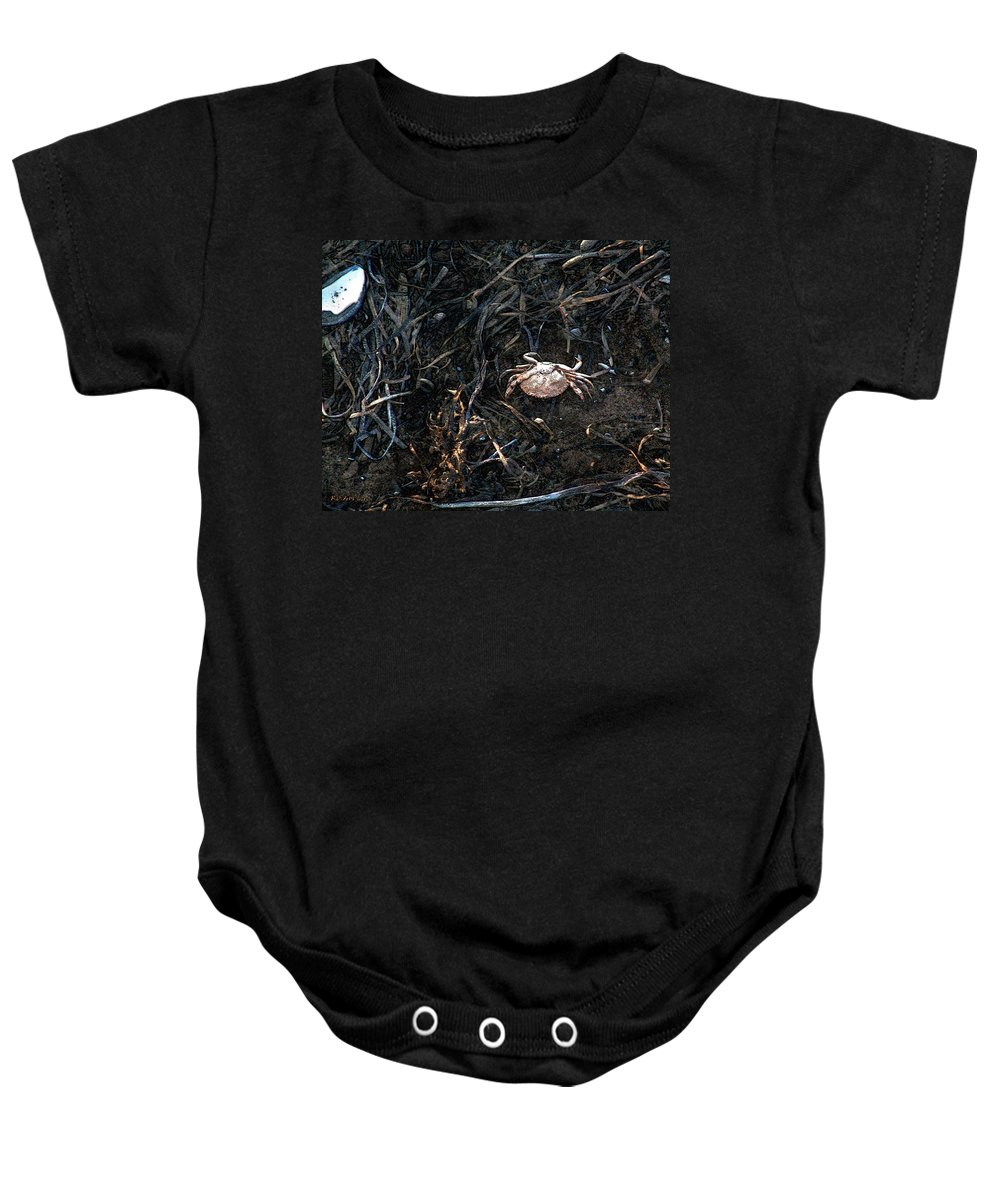 Beach Baby Onesie featuring the painting Scuttling To Safety by RC DeWinter